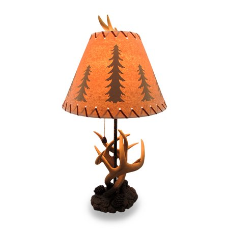 Triple Antler Desk Lamp w/Pine Cone Pull and Leather Look Shade