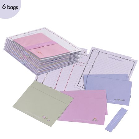 Lovely Floral Lined Stationery Paper 14 * 19cm with Non-Adhesive Matchable Envelopes 15 * 10cm All-Purpose Letter Paper Envelope Set for Office/ School/ Home Assorted Colors 36PCS (6 Bags)