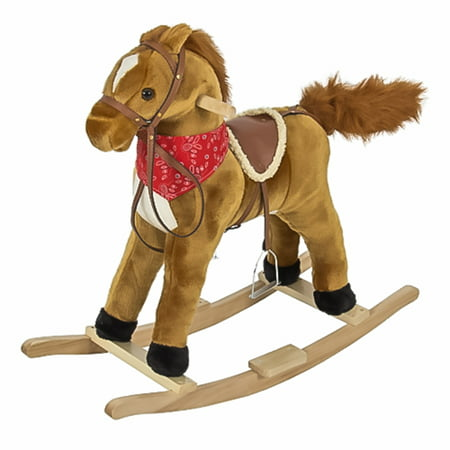 Best Choice Products Plush Rocking Horse Pony Ride On Toy w/ Sounds - Brown - Horse Racing Toy