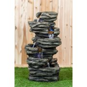 7 LEVEL SLATE STONE FOUNTAIN WITH LIGHT