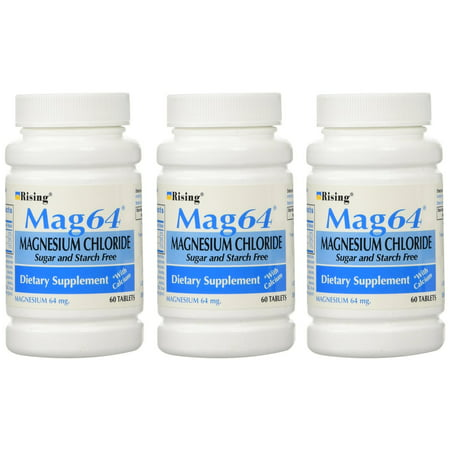 - NEW MAG 64 MAGNESIUM CHLORIDE WITH CALCIUM 60 TABLETS (3 Bottles = 180 Tablets)