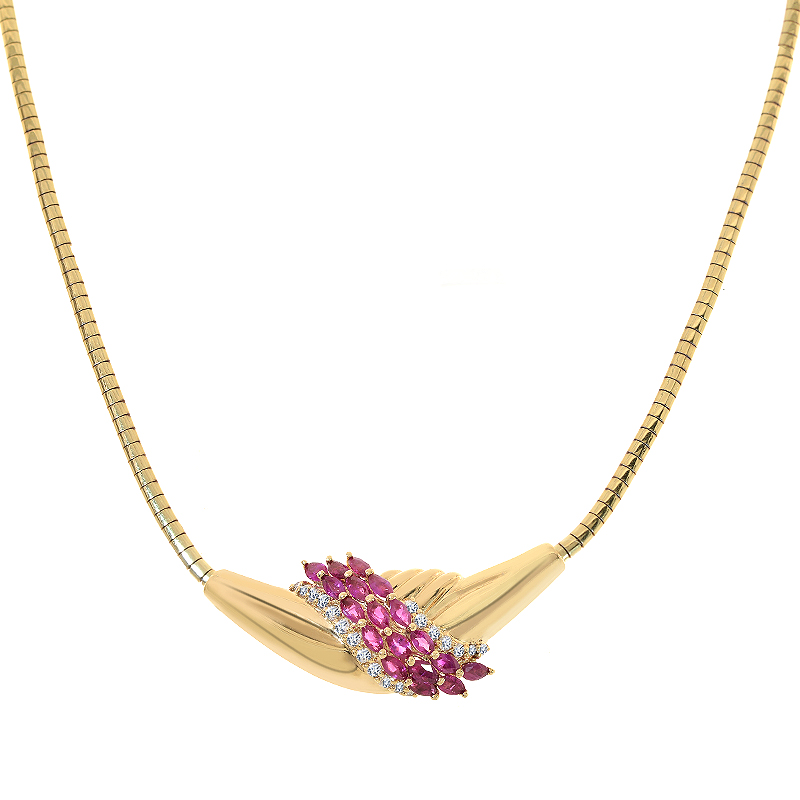 1.90 Carat Marquise Ruby and Diamond Estate 14K Yellow Gold Necklace by