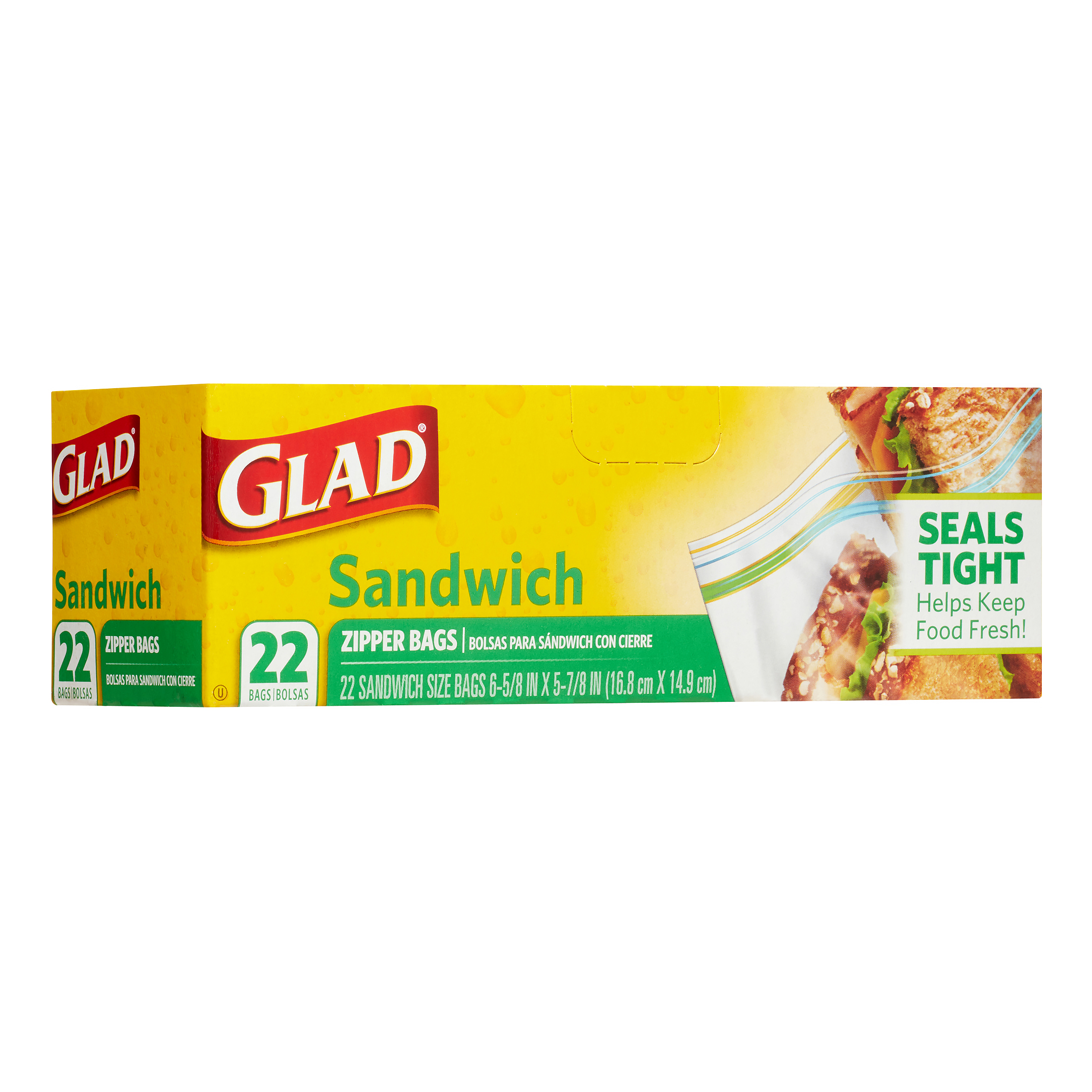 Glad Food Storage Bags, Sandwich Zipper, 22 Count