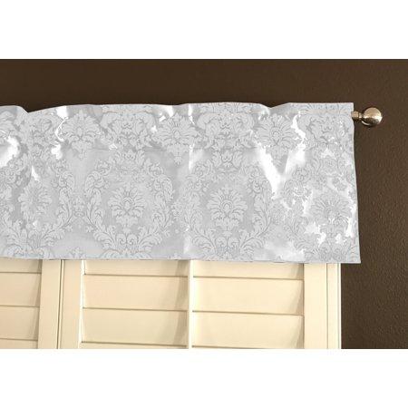 White Taffeta - flocking damask taffeta window valance 56 wide white on white