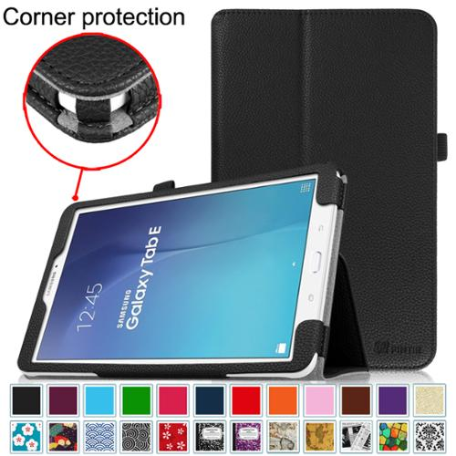 Samsung Galaxy Tab E 9.6 / Tab E Nook 9.6 Inch Tablet Folio Case - Fintie Slim Fit PU Leather Stand Cover, Black