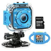 VanTop Junior K3 1080P Kids Camera Underwater Digital Kids Action Camera ,Sports Camera Camcorder for Boys/Girls, 32GB SD Card-Blue