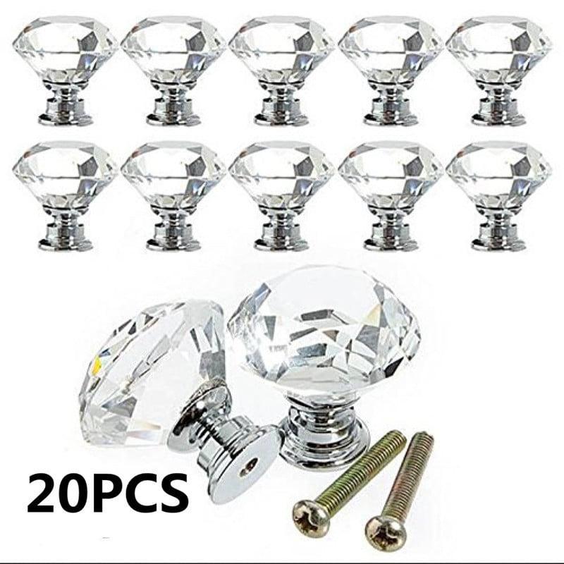 20Pcs 30MM Clear Crystal Glass Cabinet Knob Diamond Shape Drawer Door Pull Kitchen Cabinets Wardrobe Pulls Handles