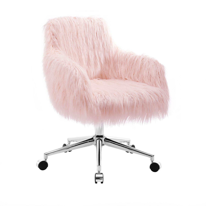 Linon Fiona Faux Fur fice Chair Pink 16 20 inch Adj Seat