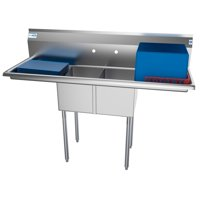"2 Compartment 56"" Stainless Steel Commercial Kitchen Prep & Utility Sink with 2 Drainboards - Bowl Size 12"" x 16"" x 10"""