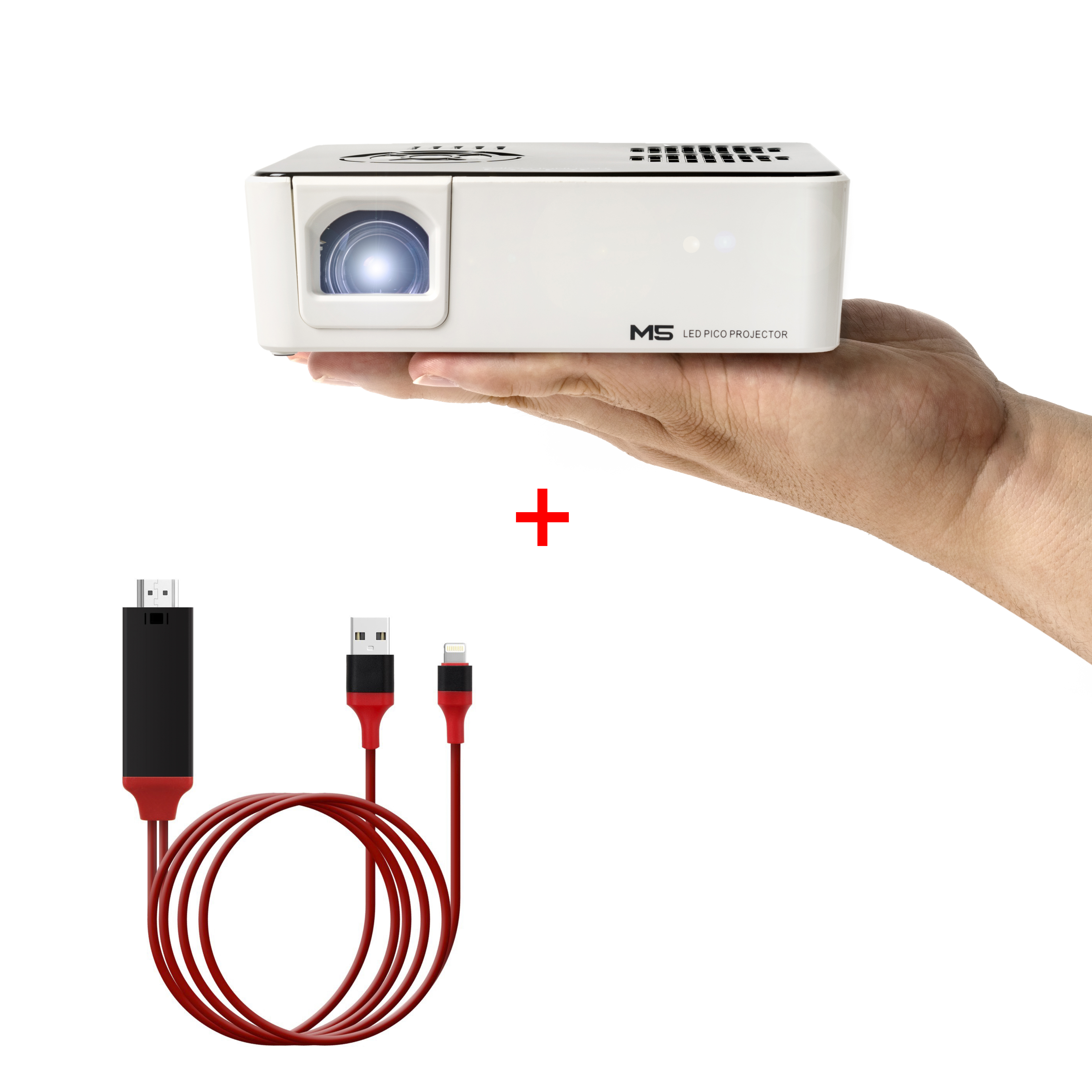 AAXA M5 LED Mini Projector Value Bundle w/ Lightning HDMI Cable