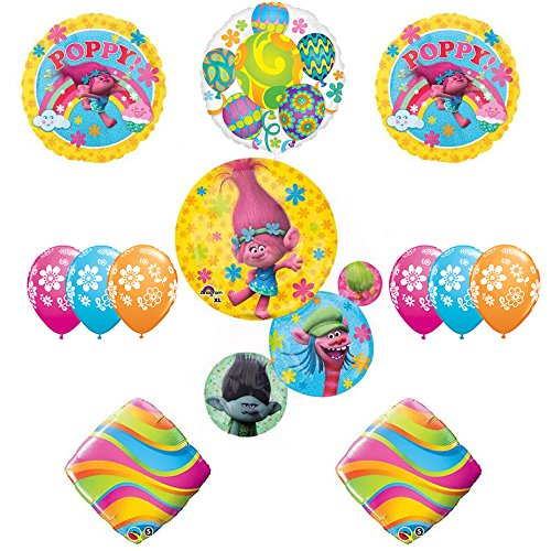 TROLLS Movie 5th Happy Birthday Party Balloons Decoration Supplies Poppy Branch Movie Anagram