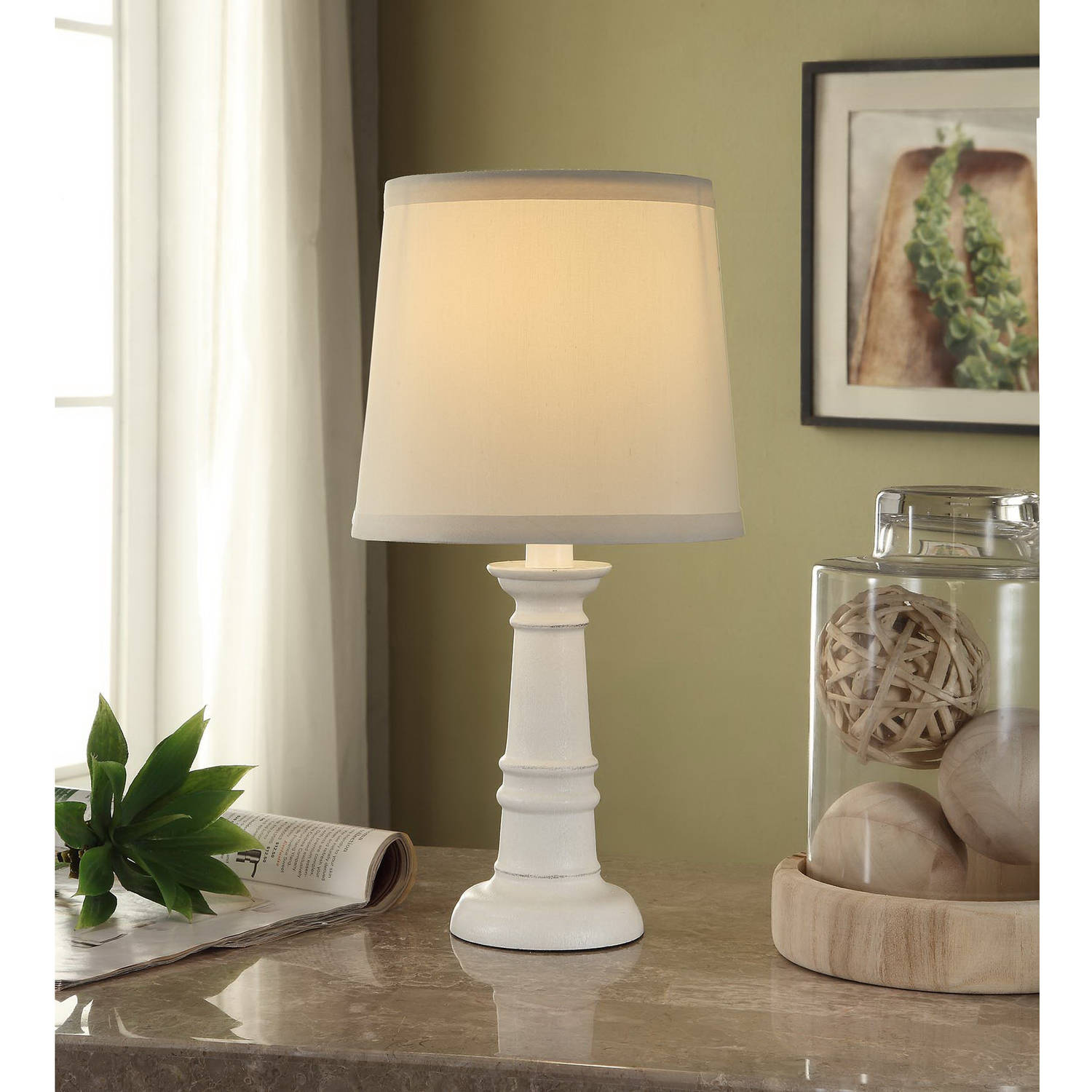 Mainstays Accent Lamp Base, White-Washed Wood Finish