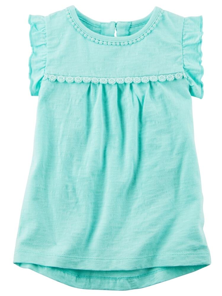 Carters Little Girls Ruffle-Sleeve Tank Top Mint