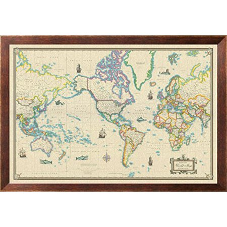Framed world map modern day as antique on canvas 24x36 walmart framed world map modern day as antique on canvas 24x36 gumiabroncs Image collections