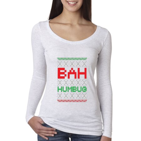 New Way 185 - Women's Long Sleeve T-Shirt Bah Humbug Scrooge Christmas Ugly - Bah Humbug Halloween