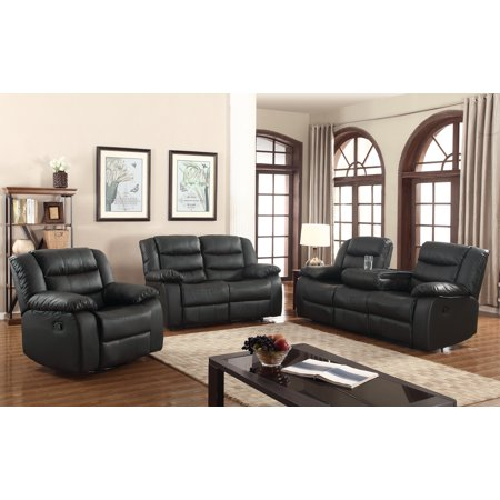 layla 3 pc black faux leather living room reclining sofa set with drop