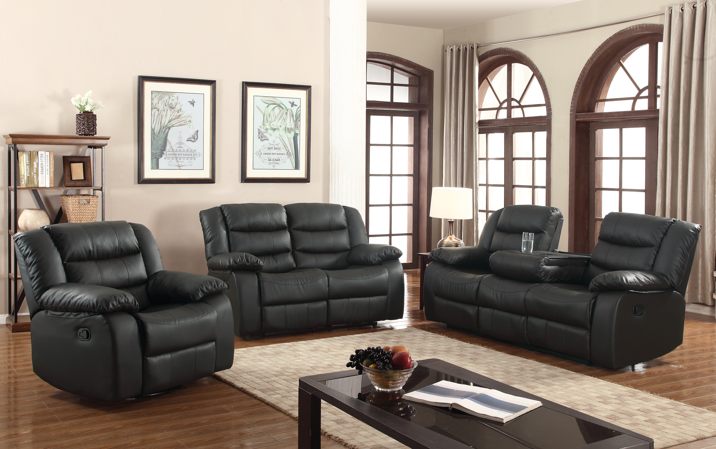 layla 3 pc black faux leather living room reclining sofa set with dropdown tea