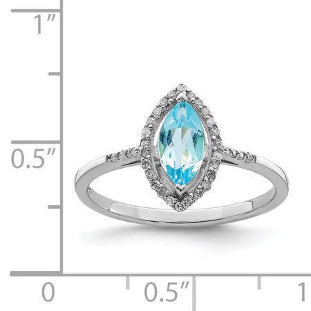Sterling Silver Rhodium Diam. & Light Swiss Blue Topaz Ring Size 7 - image 1 of 2