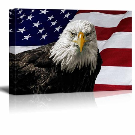 Majestic Bald Eagle Against a Photo of an American Flag Patriotic Style - Canvas Art Wall Decor - 16