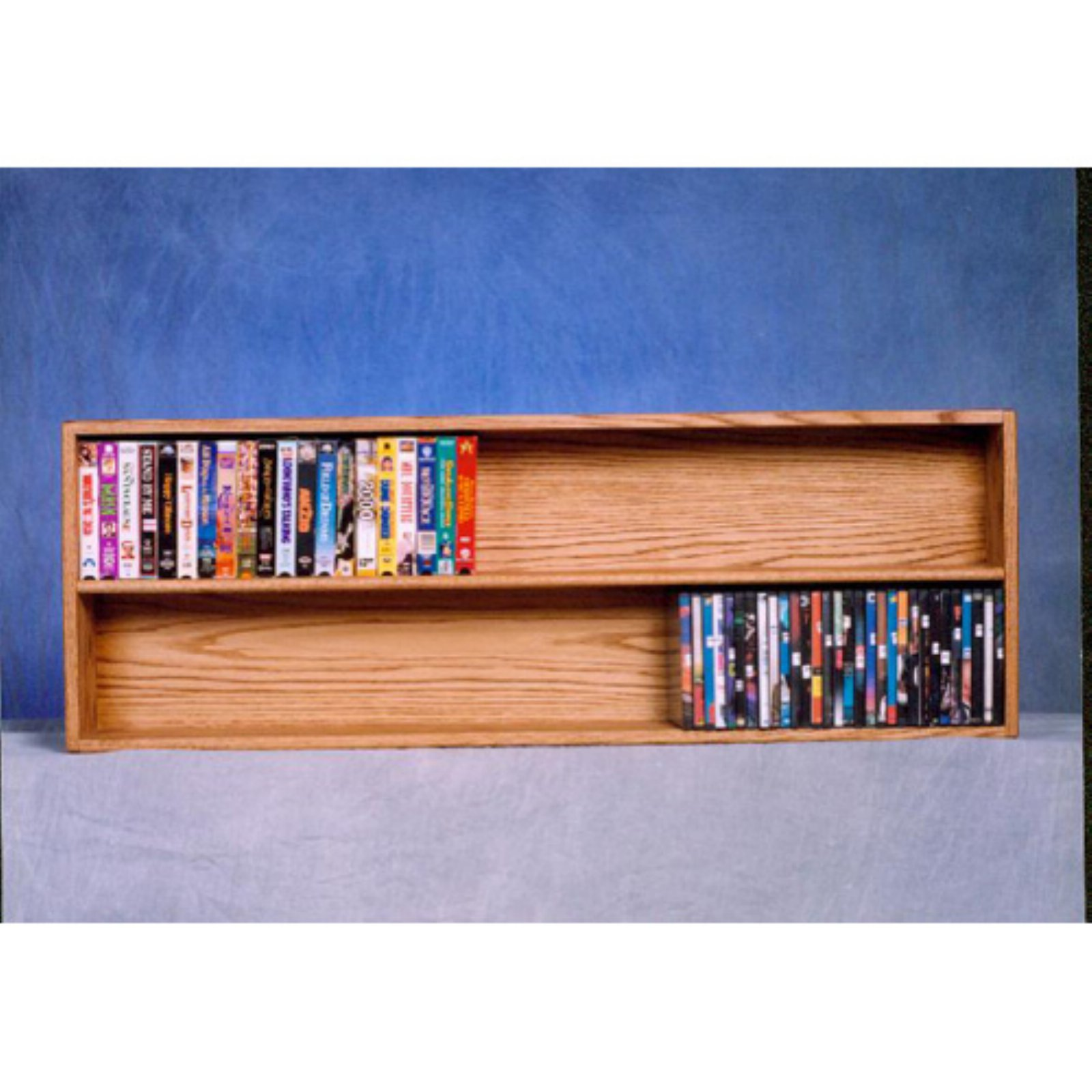The Wood Shed Solid Oak 2 Tier Wall / Shelf Mount DVD / VHS Media Cabinet