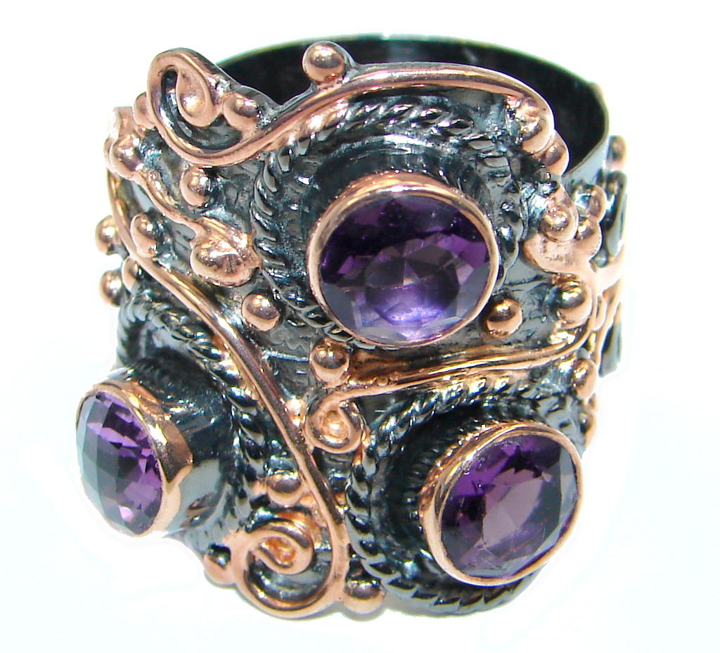 Huge Genuine Pink Amethyst Rose Gold plated over Sterling Silver handmade ring size adjustable by SilverRush Style by