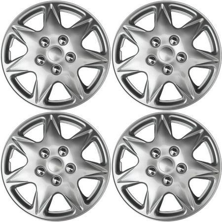 "4 Piece Hub Cap ABS Silver 17"" Rim Wheel Skin Cover Center"