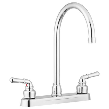 Lynden Kitchen Faucet by Pacific Bay - Features a Classically Arced Spout and Traditional Two-Lever Operation – Metallic Chrome Plating Over ABS Plastic - New 2019
