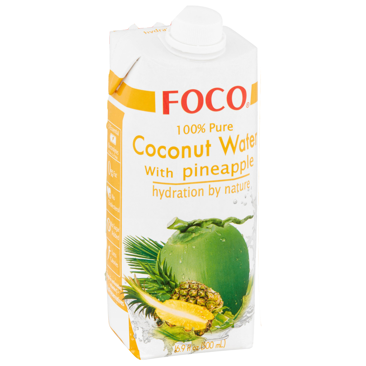 Foco 100% Pure Coconut Water, Pineapple, 16.9 Fl Oz, 1 Count