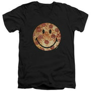 Smiley World Pizza Face Mens V-Neck Shirt