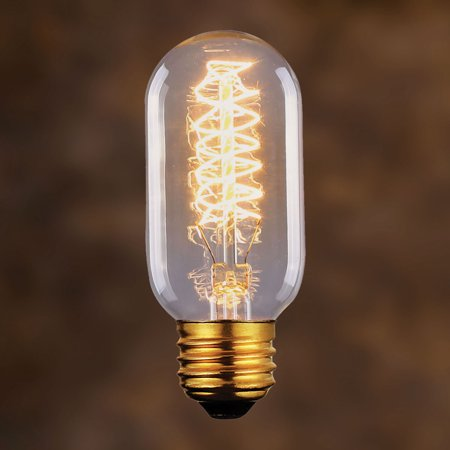 Vintage Tubular Radio Spiral Loop Light Bulb, Light Golden Glass 60W - Glass 60w Type