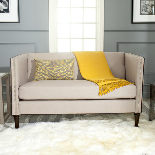 Safavieh Sarah Settee, Beige/Black Piping