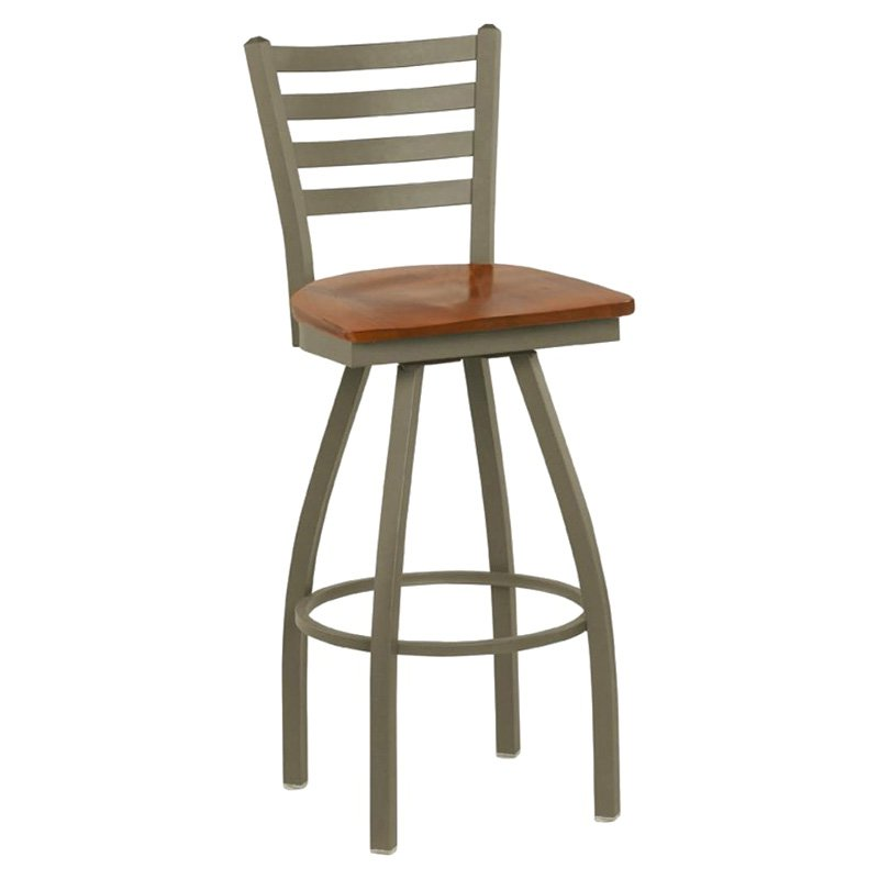Regal Delano 30 in. Swivel Bar Stool with Wood Seat