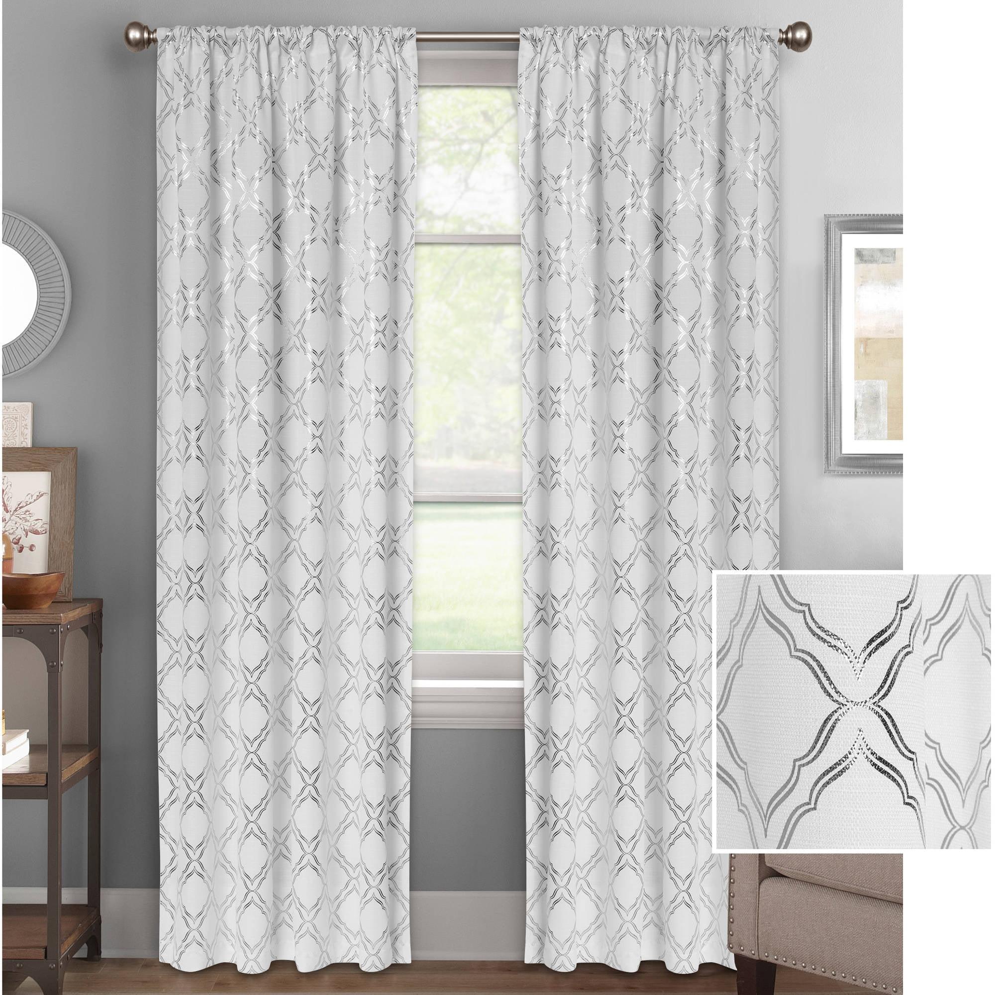 Better Homes and Gardens Metallic Foil Trellis Curtain Panel ...
