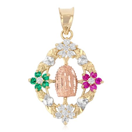 Ioka - 14K Tri Color Gold CZ Guadalupe Medal Religious Charm Pendant For Necklace or Chain