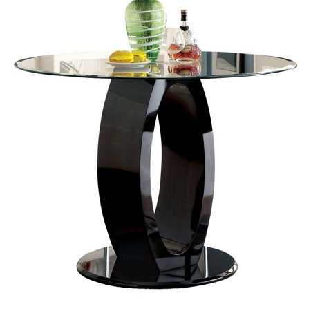 Furniture of America Damore Contemporary Counter Height High Gloss Round Dining - Contemporary Metal Furniture