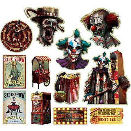 Creepy Carnival Sideshow Cutouts - Halloween Carnival Ideas