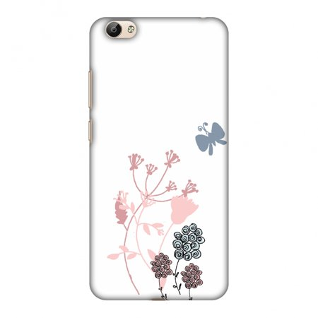 - Vivo Y66 Case - Flowers and butterfly- White, Hard Plastic Back Cover, Slim Profile Cute Printed Designer Snap on Case with Screen Cleaning Kit