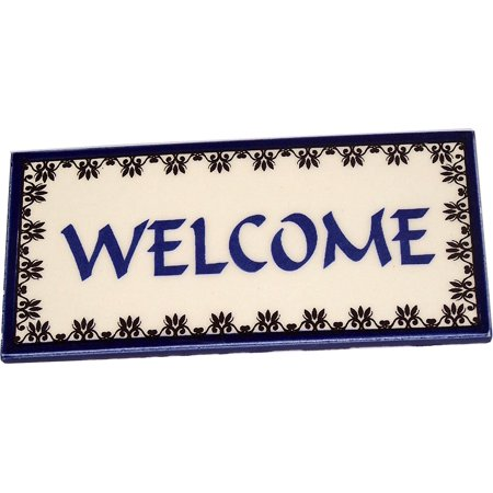 Welcome painted tile from Jerusalem - 6x3 Inches - Asfour Outlet Trademark