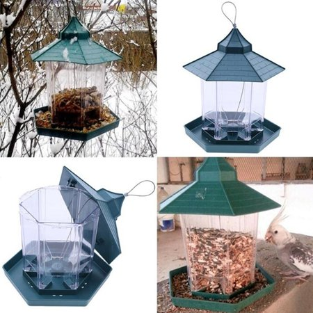 Clean Cup Feeder - Green Pavilion Bird Feeder Outdoor Hanging Food Container Garden Decoration Pet Enclosure Cage Cup