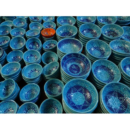 Canvas Print Pottery Shells Blue Ceramic Bowl Decoration Stretched Canvas 10 x 14