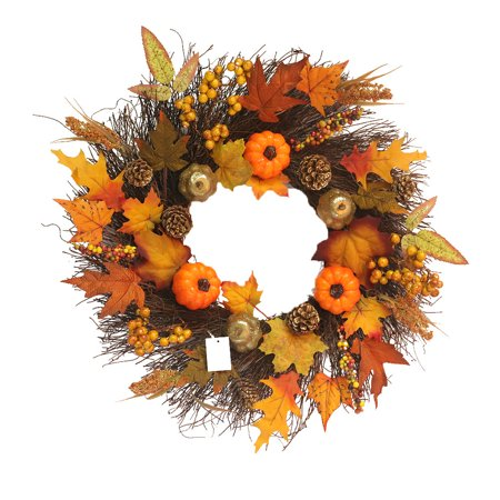 Maple Leaf Pumpkin Wreath Artificial Pumpkin wreath front door decoration Thanksgiving Decorative Wreath ()