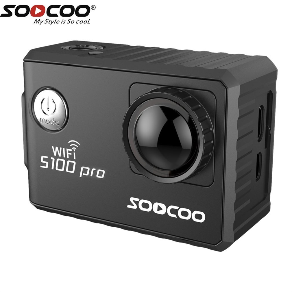 Black SOOCOO Voice Control S100Pro Waterproof Action Camera Wifi 4K HD 2.0 Touch Screen Sports Camera With Microphone GPS Extension On Sale