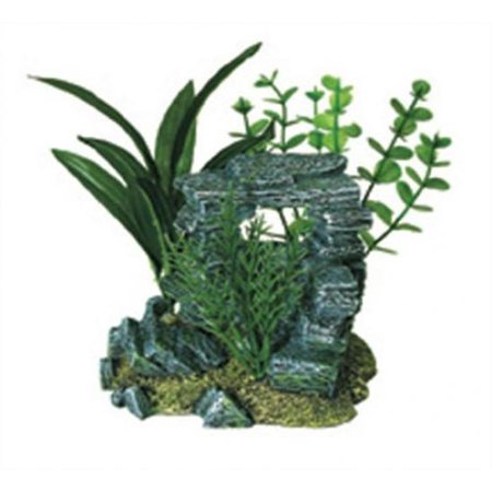Exotic Environments Rock Arch with Plants Aquarium Ornament, - Planet Rock