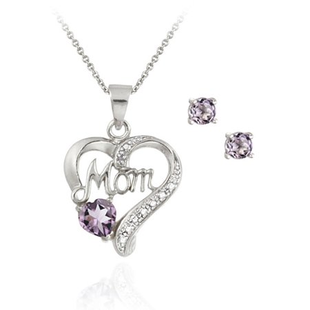 Amethyst Heart Set - 4.0mm Round Amethyst and Diamond Accent Sterling Silver