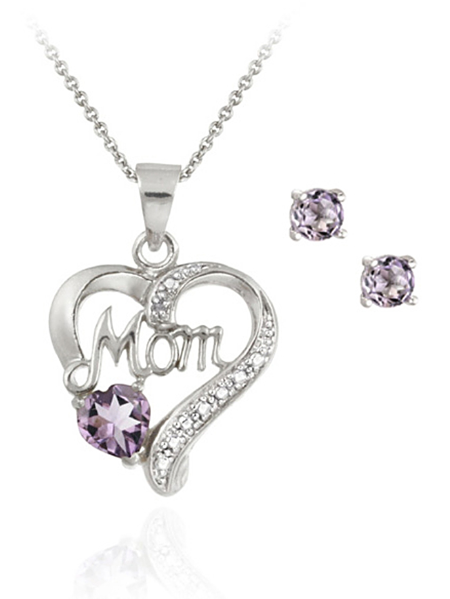 """4.0mm Round Amethyst and Diamond Accent Sterling Silver """"MOM"""" Heart Pendant and Earrings Set"""
