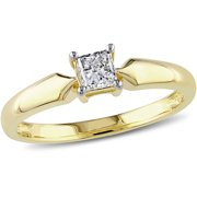 1/3 Carat T.W. Princess-Cut Diamond 10kt Yellow Gold Solitaire Ring