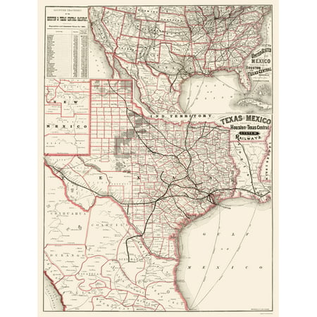 Map Of Texas Railroads.Old Railroad Map Houston And Texas Central Railways 1880 23 X 30 20