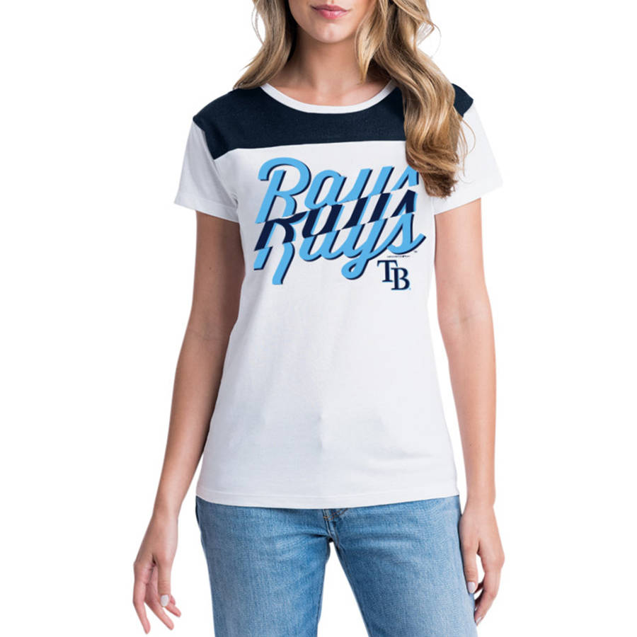 MLB Tampa Bay Rays Women's Short Sleeve White Graphic Tee
