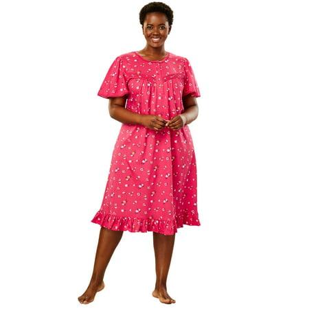 Dreams & Co. Plus Size Short Floral Print Cotton Gown (Renaissance Gowns Plus Size)