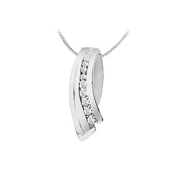 FineJewelryVault UBPD312W14D-110 Diamond Pendant : 14K White Gold - 0.25 CT Diamonds